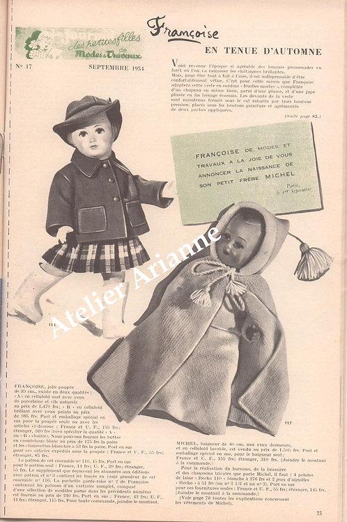 Kit tenue pour poupée Françoise Modes et Travaux Septembre 1954