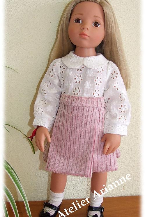 Jupe en velours côtelé  pour poupée Gotz