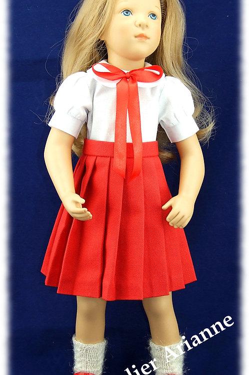 Tenue Lia - jupe plissée et chemise pour poupée Finouche