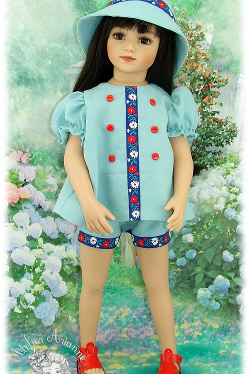 Tenue Printemps pour poupées :Gotz, Maru, American Girl, baigneurs de40 cm