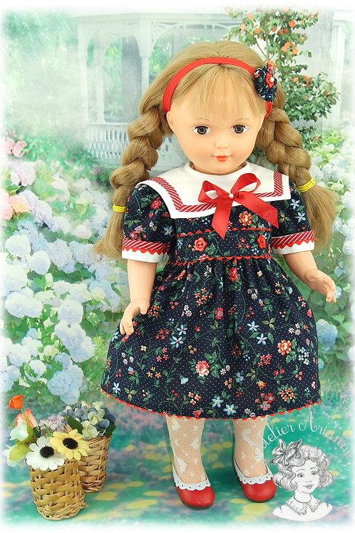 Modèle exclusif-Tenue pour poupée Elisabeth de Modes et Travaux - Mai 1986