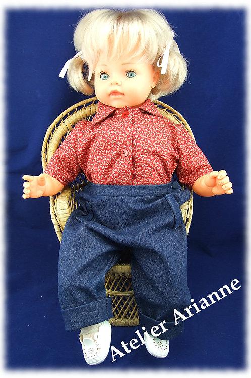 Tenue Eddy pour poupées et poupons 55-60 cm rouge