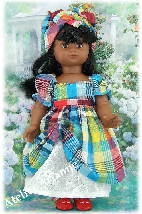 Tenue Guadeloupe pour poupée Emilie Modes et Travaux ou d'autres 39 cm Juin 2003