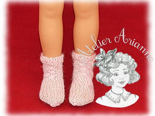 Chaussettes roses tricotées pour: Corolle, Paola Reina, Patsy 33cm, Minouche