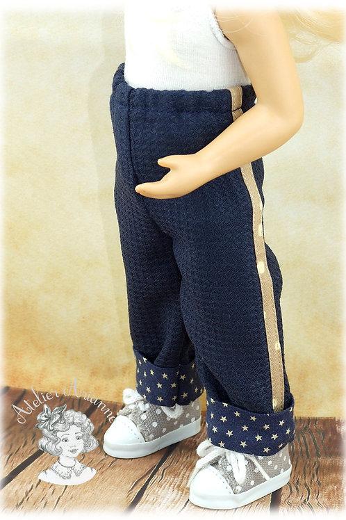 Pantalon avec bande et revers colorés pour poupée Minouche de 33 cm