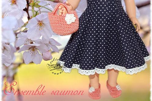 Chaussures et sac poupée Modes et Travaux Françoise Ensemble Saumon