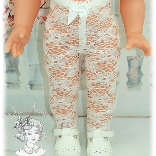 Collant dentelle ajouré pour poupées Marie-Françoise ou Emilie