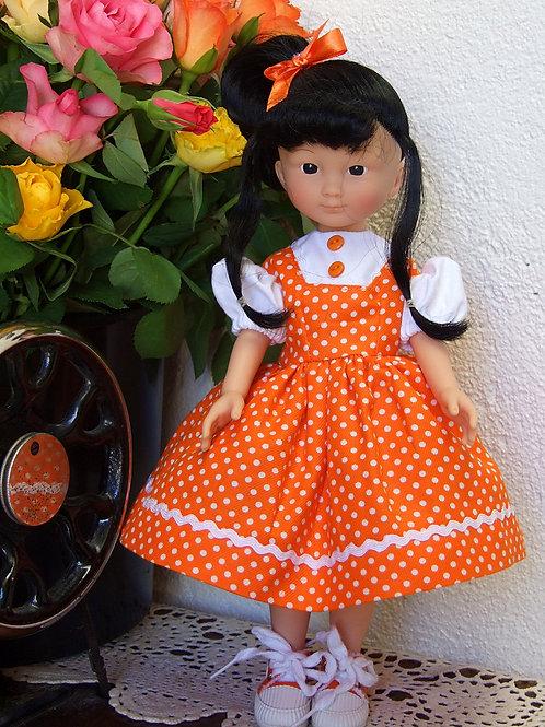 """Tenue """" Orange """" pour poupée Corolle ou Paola Reina 33 cm"""