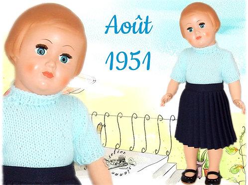 Tenue poupée Modes et Travaux Françoise Août 1951