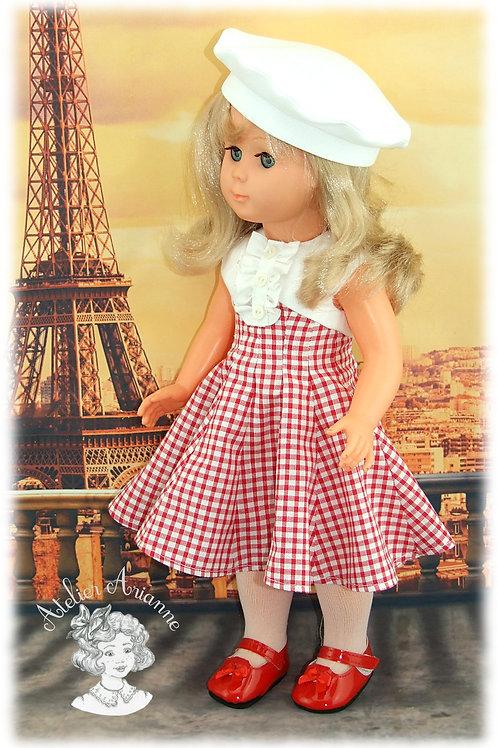 Parisienne + béret , tenue pour poupées de Modes et Travaux