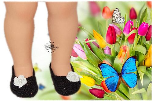Chaussures poupée Modes et Travaux Françoise Noires fleurs blanches