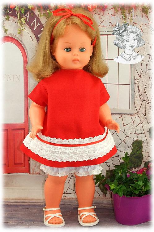 Reproduction d'une tenue d'origine pour poupée Roselyne de GéGé 55 cm