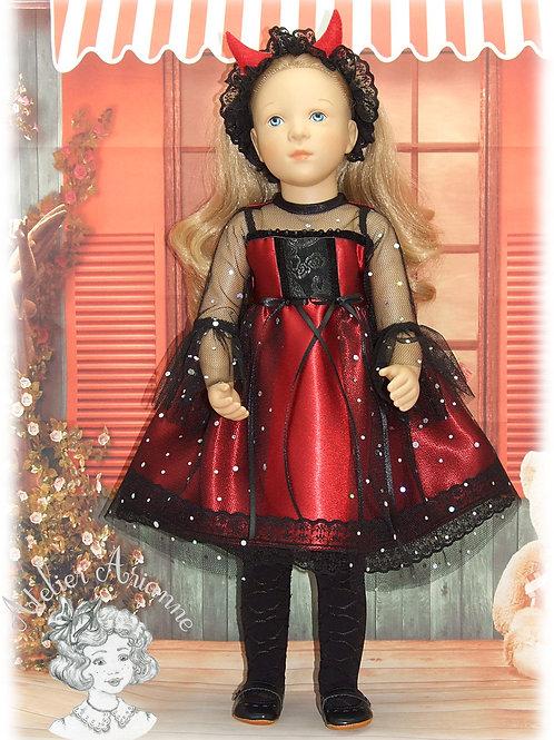 Pièce unique - tenue Diablesse pour la poupée Finouche de Petitcollin - Carnaval