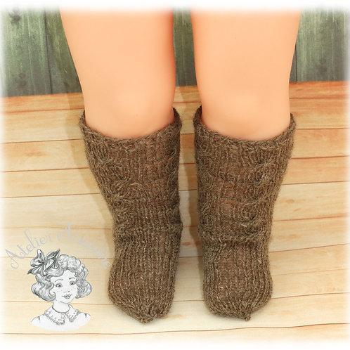 Chaussettes tricotées hautes pour poupée Emilie de 40 cm