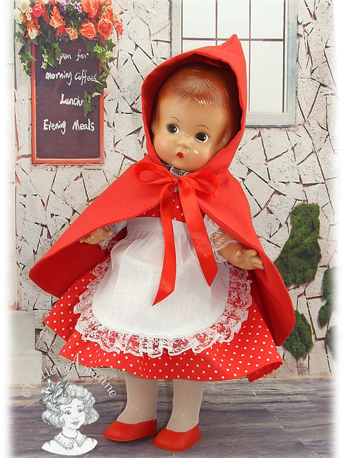 Le petit chaperon rouge, tenue de février 1981 pour poupée Patsy 33 cm
