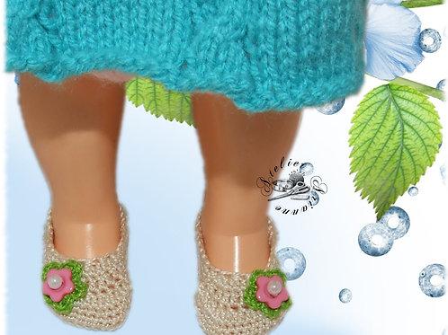 Chaussures crochet pour poupée Françoise Modes et Travaux