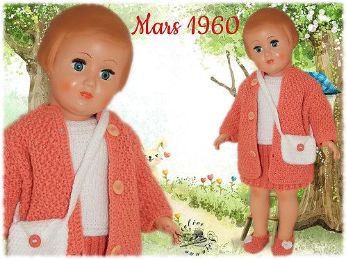 Réservé Vêtement poupée Modes et Travaux Françoise Mars 1960