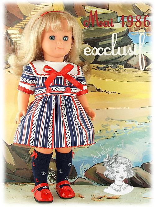 Modèle exclusif - Tenue pour poupée Elisabeth de Modes et Travaux - Mai 1986