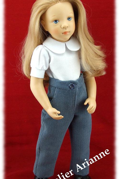 Pantalon pour poupée Finouche de Petitcollin couleur bleu