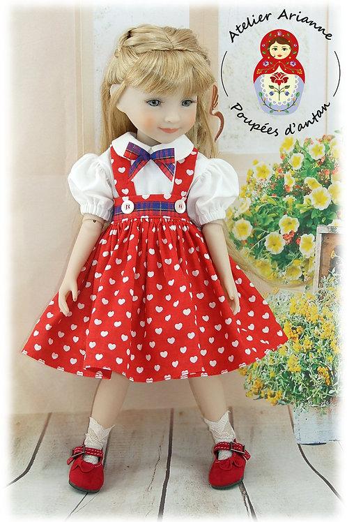 Tenue cœurs pour poupée  Ruby Red