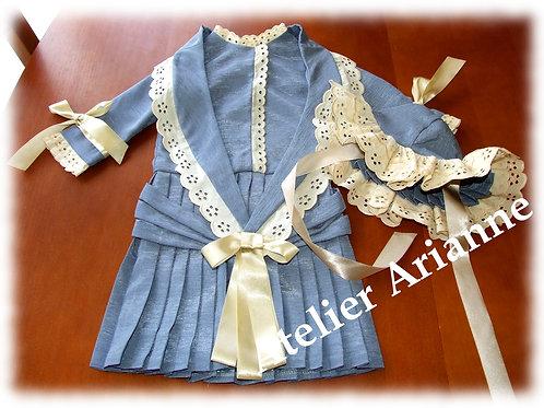 Tenue Antoinette pour poupée 75-78 cm type Jumeau