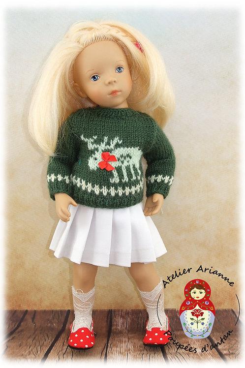 Pull Renne + jupe plissée -Tenue pour poupée Minouche 33 cm