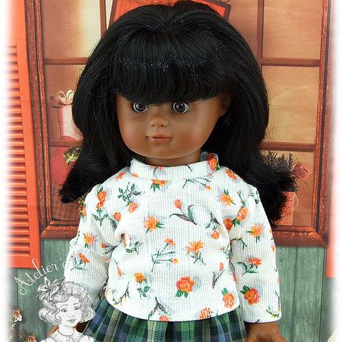 Col roulé en jersey pour poupées Emilie, Kattie de Raynal, Schildkrot 42 cm
