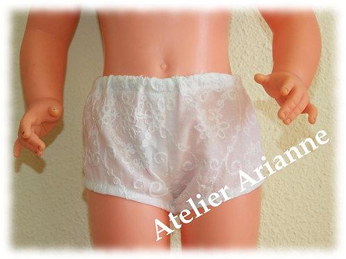 Culotte blanche broderie anglaise pour poupées Raynal et autres 55-58 cm