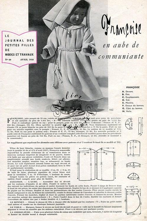 Page Modes et Travaux Avril 1958 avec mini patron
