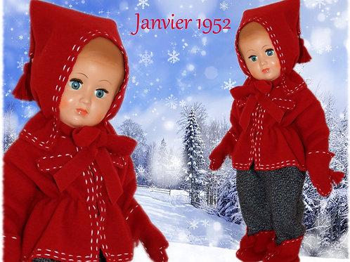 Tenue poupée Modes et Travaux pour Françoise Janvier 1952