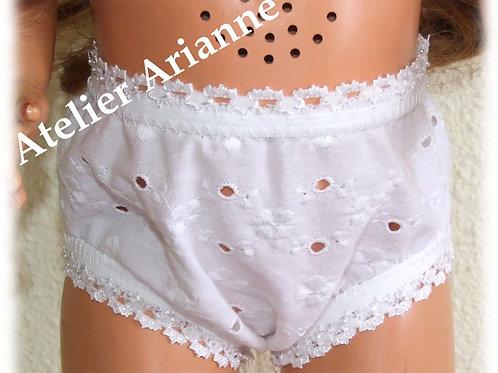 Culotte blanche broderie anglaise pour poupées Raynal et autres 56-63 cm