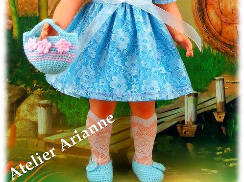 Sac et chaussures crochet pour poupée Françoise Modes et Travaux