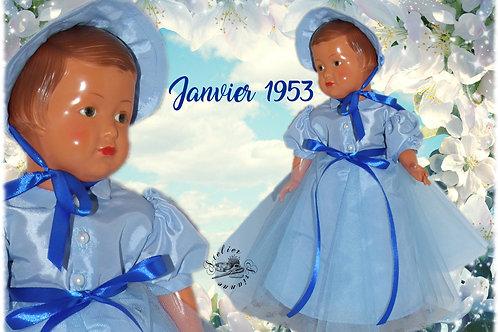 Tenue pour poupée Françoise Modes et Travaux Janvier 1953