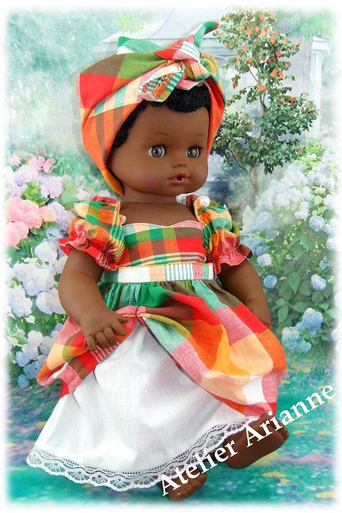 Tenue Guadeloupe pour baigneur ou poupée  42 cm, de la posture d'un bébé