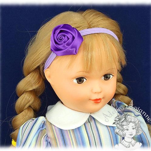 Serre-tête élastique avec rose en satin - couleur violet améthyste