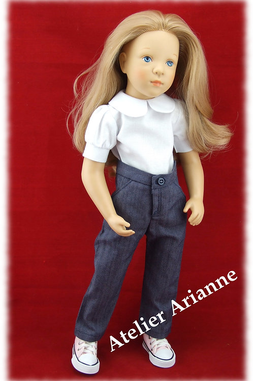 Pantalon pour poupée Finouche de Petitcollin couleur bleu jean