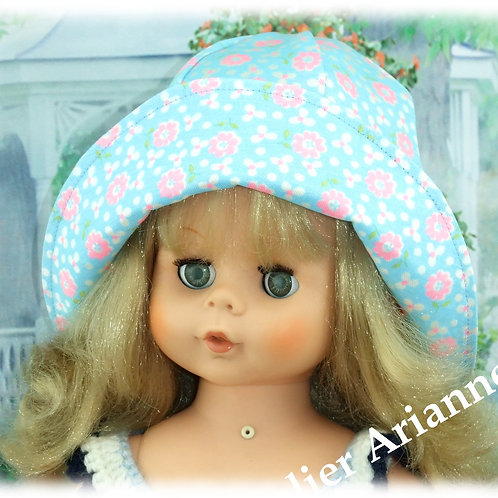 Chapeau pour poupée ou baigneur , tour de tête  35-37 cm