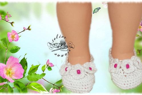 Chaussures poupée Modes et Travaux Françoise Blanches