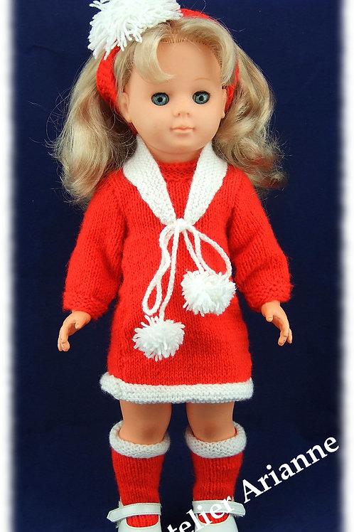 Mère Noël tenue tricotée pour poupées de Modes et Travaux