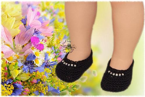 Chaussures poupée Modes et Travaux Françoise Noires perles blanches
