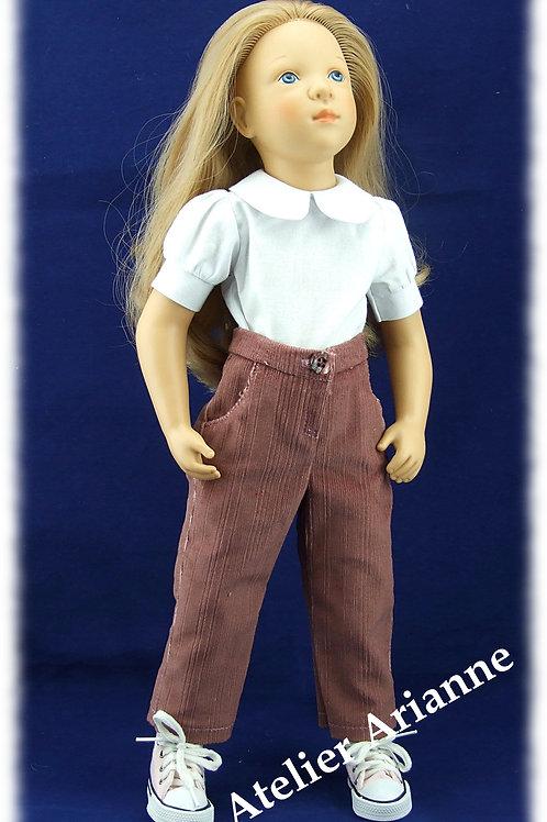 Pantalon pour poupée Finouche de Petitcollin couleur vieux violet