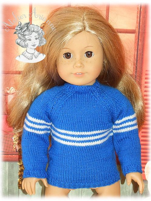 Pull pour poupée American Girl - bleu