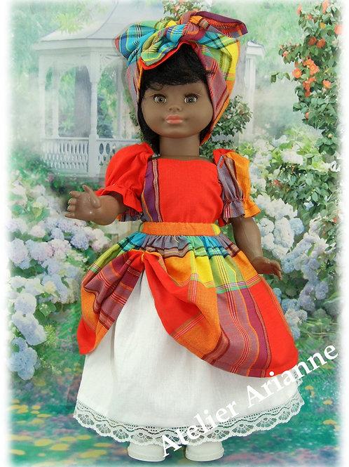 Tenue Guadeloupe pour poupée 43 cm Mireille de Petitcollin