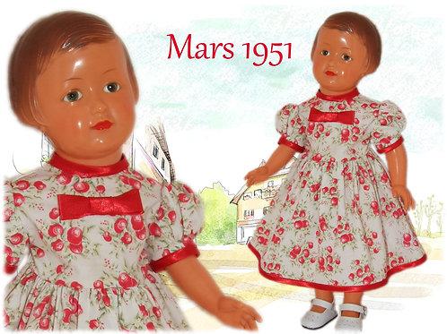 Tenue poupée Modes et Travaux pour Françoise Mars 1951