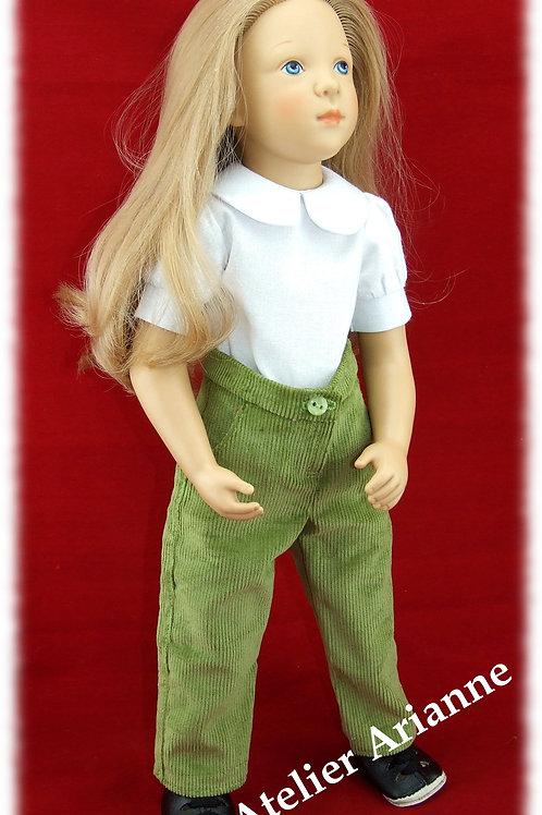 Pantalon pour poupée Finouche de Petitcollin couleur vert