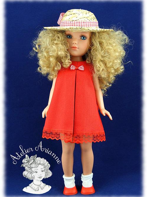 Cécile robe et chapeau pour poupée Vidal