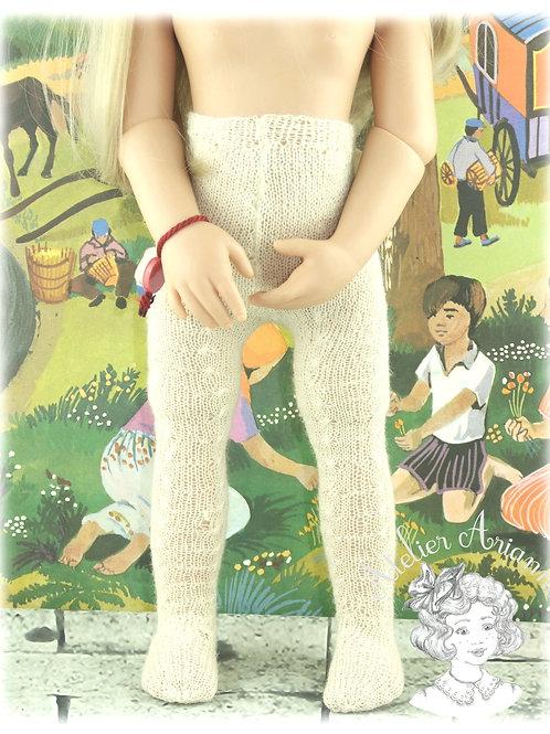Collants tricotés BLANC pour poupée Götz