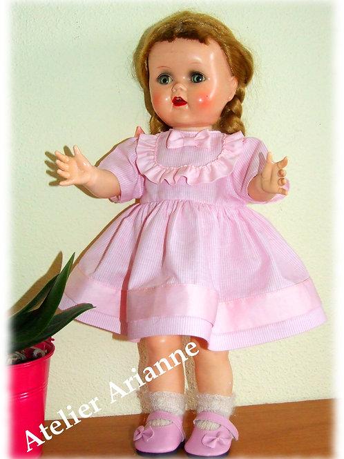 Robe Coralie Reproduction d'une tenue d'origine pour poupée Raynal de 43 cm