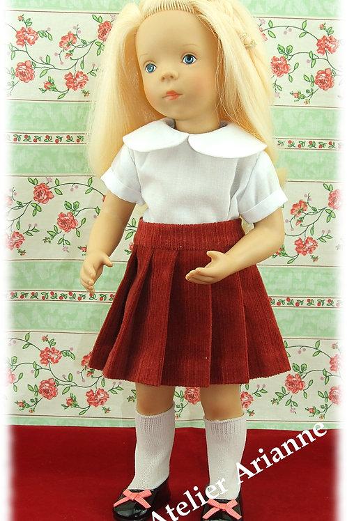 Jupe en velours côtelé  pour poupée Minouche 33 cm