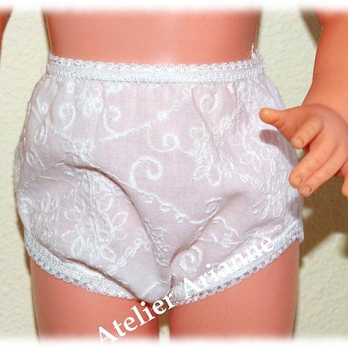 Culotte blanche brodée pour poupées Raynal et autres 56-63 cm